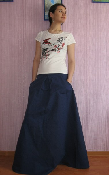 юбка из плотного льна: